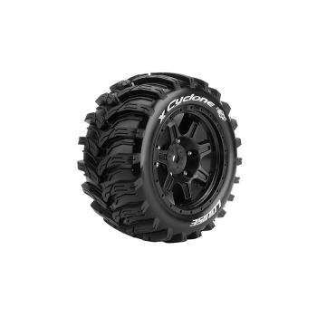 Louise Rc MFT X-CYCLONE MONSTER TRUCK TIRE SPORT / BLACK RIM HEX 24MM / MOUNTED L-T3298B