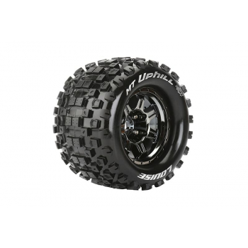 Louise Rc MFT 1/8 MT-UPHILL MONSTER TRUCK TIRE SPORT / 1/2 OFFSET BLACK CHROME RIM HEX 17mm / MOUNTED L-T3322BCH