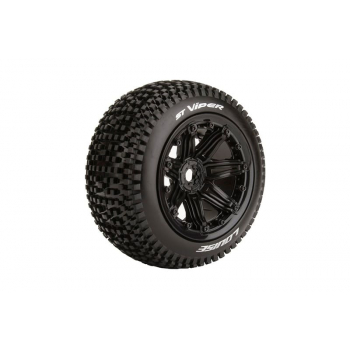 Louise Rc ST-VIPER 1/8 STADIUM TRUCK TIRE SPORT / BLACK RIM HEX 17MM / MOUNTED L-T3289B