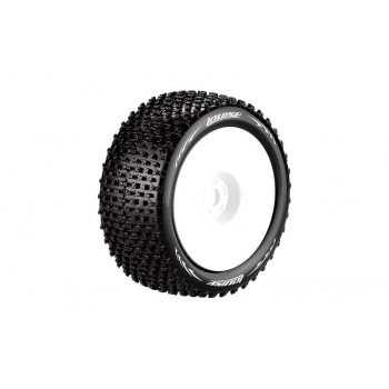 Louise Rc T-PIRATE 1/8 TRUGGY TIRE SUPER SOFT / 0 OFFSET WHITE RIM / MOUNTED L-T3134VW